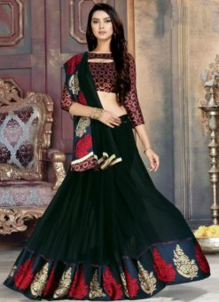 Attractive Black Georgette Printed Casual Wear Saree