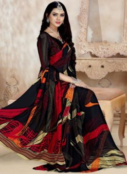 Elegant Black Satin Georgette Printed Casual Wear Saree