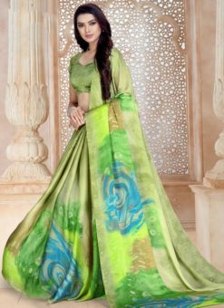 Attractive Green Satin Georgette Printed Casual Wear Saree