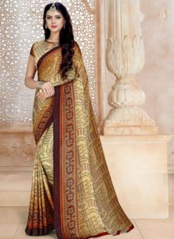 Dazzling Beige Satin Georgette Printed Casual Wear Saree