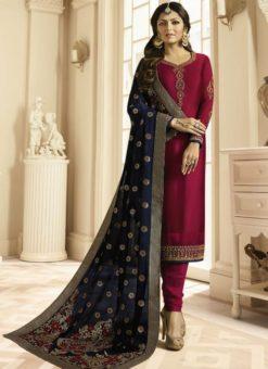 Lavish Pink Satin Georgette Embroidered Work Designer Churidar Salwar Kameez