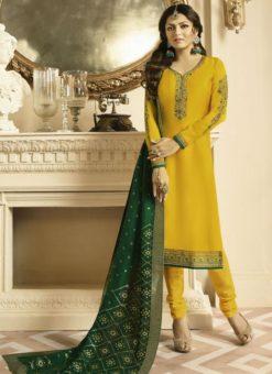 Amazing Yellow Satin Georgette Embroidered Work Designer Churidar Salwar Kameez
