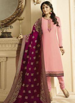 Beautiful Baby Pink Satin Georgette Embroidered Work Designer Churidar Salwar Kameez
