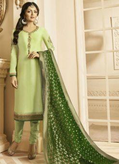 Sweet Pista Green Satin Georgette Embroidered Work Designer Churidar Salwar Kameez