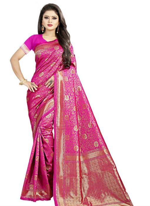 Charming Pink Jacquard Cotton Zari Print Traditional Saree