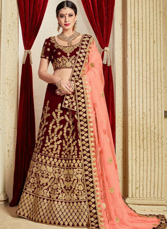 5d3a658b386b Excellent Maroon Velvet Embroidered Work Designer Bridal Lehenga Choli --  Indian Wedding Dress Fiji | Buy Salwar Kameez Online Fiji - USA UK Canada