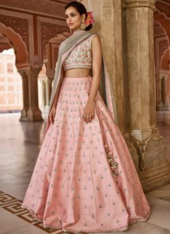 Glorious Orange Mulberry Silk Embroidered Work Designer Wedding Lehenga Choli