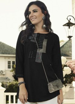 Exclusive Black Rayon Designer Printed Short Kurti