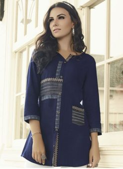 Beautiful Navy Blue Rayon Designer Printed Short Kurti