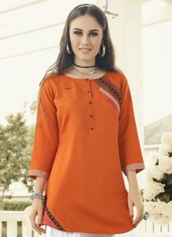 Attractive Orange Rayon Designer Printed Short Kurti