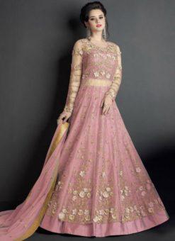 Excellent Pink Net Embroidered Work Designer Long Lehenga Choli