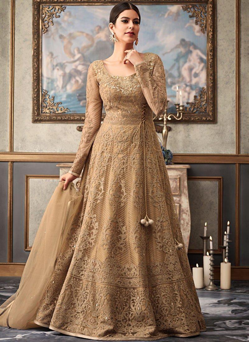 a961a9981b Magnificent Beige Fancy Net Floor Length Anarkali Salwar Kameez -- Indian  Wedding Dress Fiji   Buy Salwar Kameez Online Fiji - USA UK Canada
