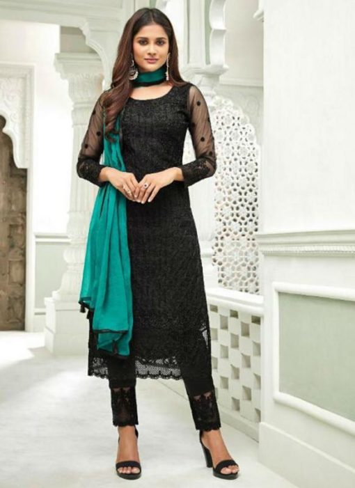 Black Net Designer Handwork Party Wear Churidar Salwar Kameez