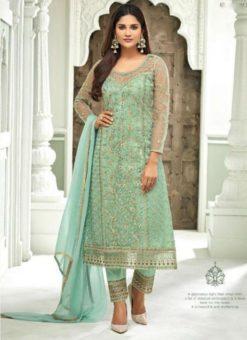 Sea Green Designer Net Handwork Party Wear Churidar Salwar Kameez