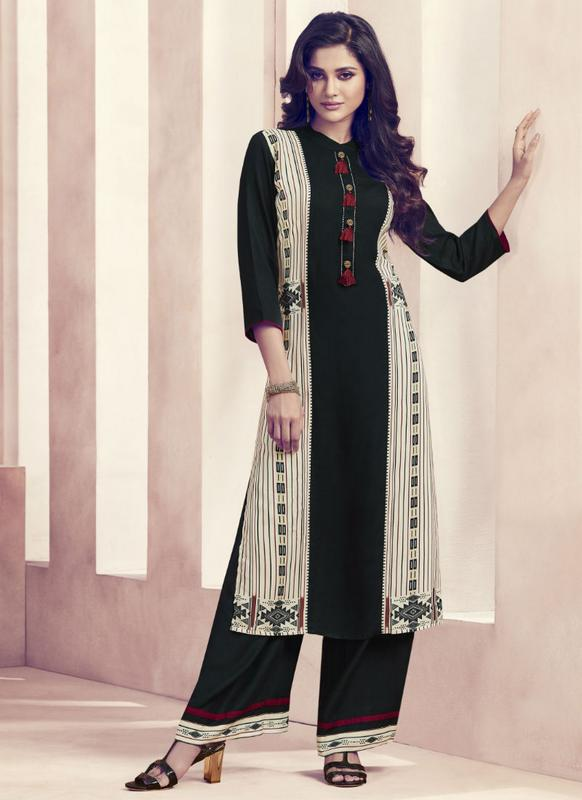 Indian Pakistani Printed Rayon Suit Dress Casual Stitched Salwar Kameez Shalwar
