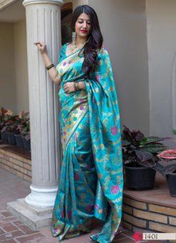 Hitansh Sky Blue Designer Banarasi Silk Saree