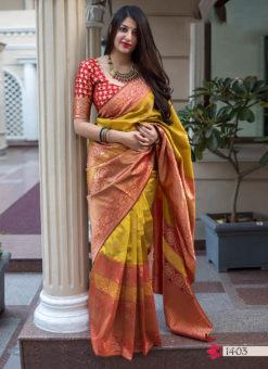 Hitansh Orange Designer Banarasi Silk Saree