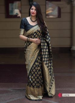Hitansh Black Designer Banarasi Silk Saree