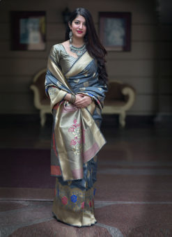 Hitansh Grey Designer Banarasi Silk Saree