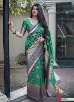 Hitansh Green Designer Banarasi Silk Saree