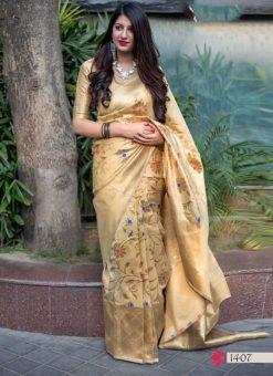 Hitansh Golden Color Designer Banarasi Silk Saree