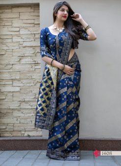 Hitansh Blue Designer Banarasi Silk Saree