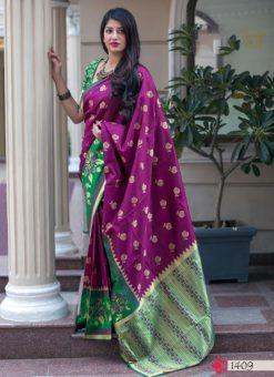 Hitansh Maroon Designer Banarasi Silk Saree