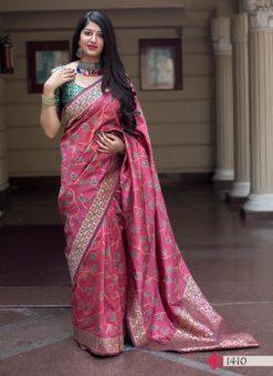 Hitansh Pink Designer Banarasi Silk Saree