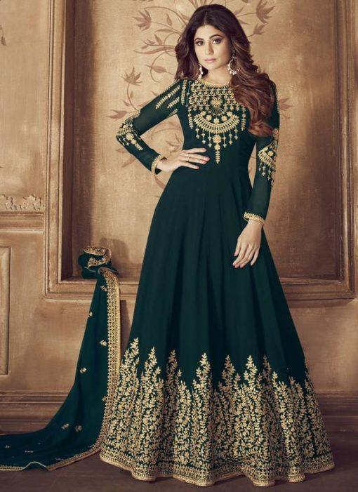 Green Georgette Embroidered Work Designer Anarkali Salwar Kameez