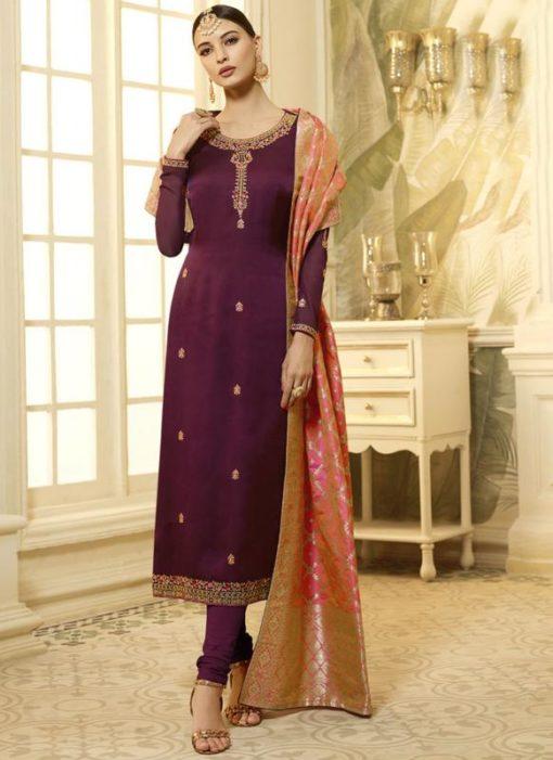 Maroon Satin Georgette Designer Churidar Salwar Kameez