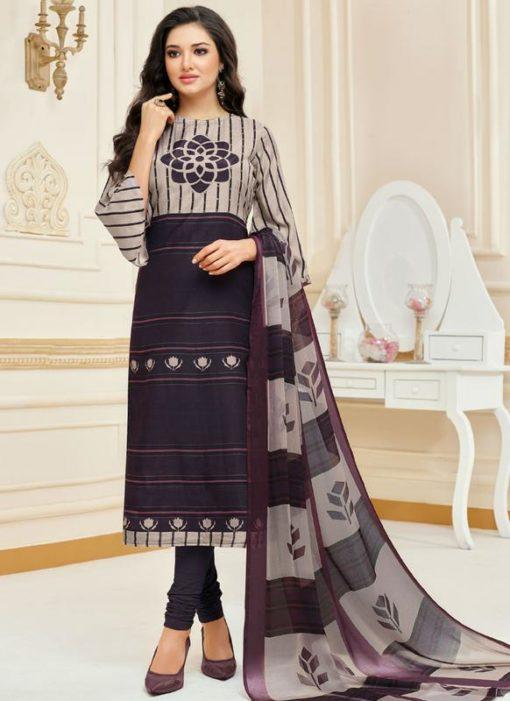 Multicolor Cotton Casual Wear Churidar Salwar Kameez