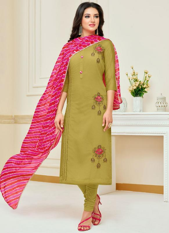 eca0865fdb Olive Green Cotton Causal Wear churidar Salwar Kameez -- Indian ...