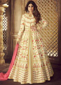Cream Silk Embroidered Work Designer Wedding Salwar Kameez