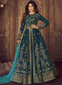 Blue Silk Embroidered Work Designer Wedding Salwar Kameez