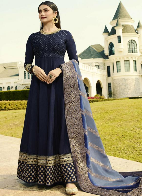 59b8078c5c Navy Blue Art Silk Designer Anarkali Salwar Kameez -- Indian Wedding Dress  Fiji | Buy Salwar Kameez Online Fiji - USA UK Canada