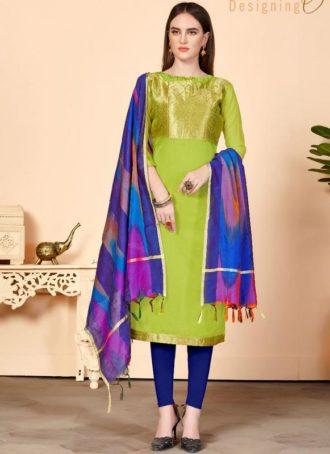 0556ecdd6 Light Green Jacquard Silk Party Wear Churidar Salwar Kameez