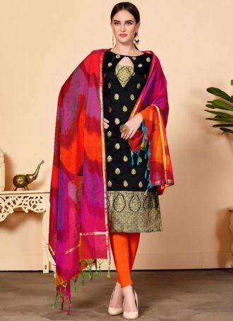 648369222 Black Jacquard Silk Party Wear Churidar Salwar Kameez