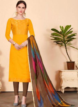 b435840e8 Mustard Yellow Jacquard Silk Party Wear Churidar Salwar Kameez