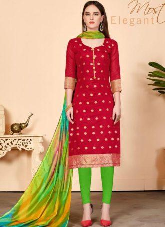 44b86abc7 Red Jacquard Silk Party Wear Churidar Salwar Kameez