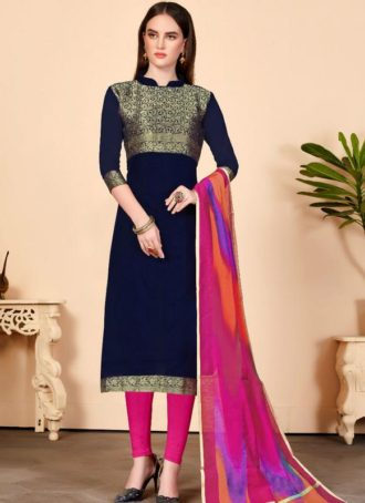1a0277fc2 Navy Blue Jacquard Silk Party Wear Churidar Salwar Kameez
