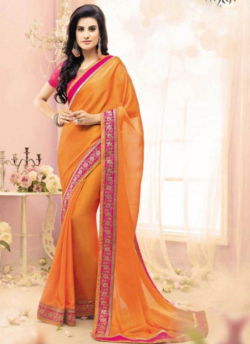 Orange Silk And Georgette Casual Wear Saree