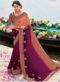 Wine Chiffon Printed Casual Wear Saree