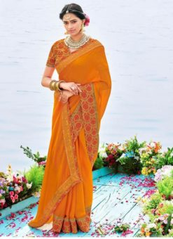 Yellow Chiffon Patch Border Casual Wear Saree