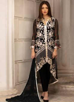 Georgette Embroidered Pakistani Suit in Black Color For Eid Jannat Summer Gold 5001 By Kilruba