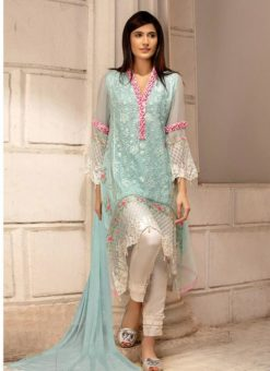 Georgette Embroidered Pakistani Suit In Ice Blue Color For Eid Jannat Summer Gold 5002 By Kilruba