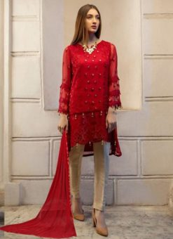 Red Georgette Embroidered Pakistani Suits For Eid Jannat Summer Gold 5003 By Kilruba