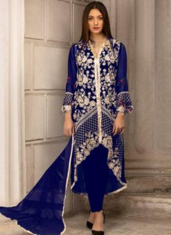 Royal Blue Georgette Embroidered Pakistani Suits For Eid Jannat Summer Gold 5004 By Kilruba