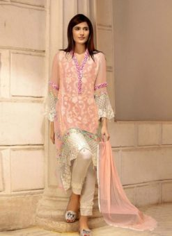 Peach Georgette Embroidered Pakistani Suits For Eid Jannat Summer Gold 5005 By Kilruba