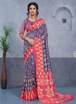 Blue Silk Printed Party Wear Saree