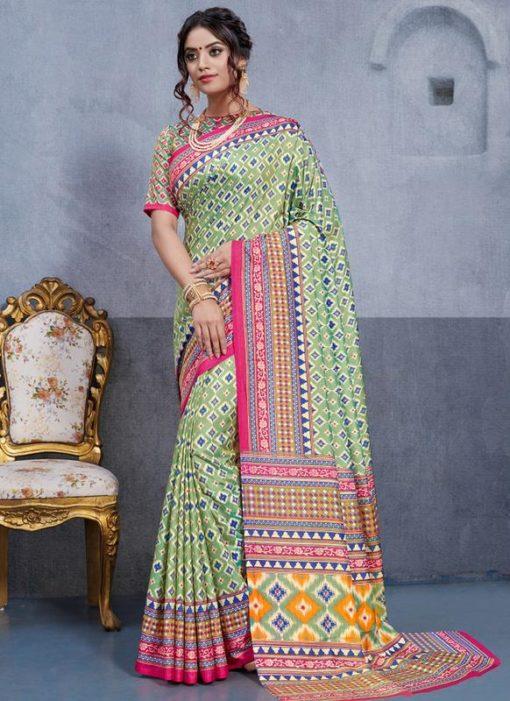 Pista Green Silk Printed Party Wear Saree